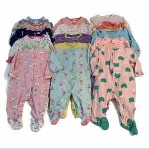 Carter's 3-6 month pink and purple footie bundle